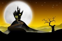 Castelo medieval com longo caminho ilustração royalty free