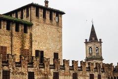 Castelo medieval de Rocca Sanvitale do castelo em Fontanellato foto de stock royalty free