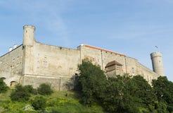 Castelo medieval de Toompea com as torres deffensive na cidade velha da cidade, Tallinn, Estônia Imagens de Stock