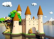 Castelo medieval dos desenhos animados na ilha com paisagem bonita Fotografia de Stock