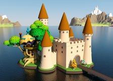 Castelo medieval dos desenhos animados na ilha com paisagem bonita Imagem de Stock