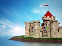 Castelo medieval fantástico sob o céu dramático ilustração do vetor