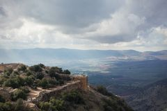 Castelo muçulmano medieval Nimrod Fortress fotografia de stock royalty free