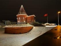 Castelo na estação do inverno, Lituânia de Kaunas fotos de stock royalty free