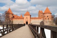 Castelo na estação do inverno, Vilnius de Trakai, Lithuania Imagem de Stock Royalty Free