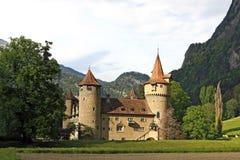 Castelo na frente de um cenário da montanha Imagem de Stock