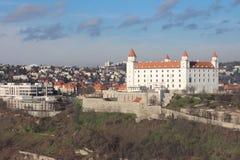 Castelo na luz do sol, Eslováquia de Bratislava Foto de Stock