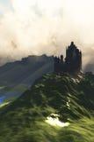 Castelo na névoa fotografia de stock