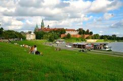 Castelo real de Wawel em Cracow, Poland Imagem de Stock Royalty Free