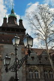 Castelo velho e uma lanterna Foto de Stock Royalty Free