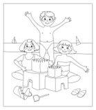 Castelos da areia (imagem em preto e branco à cor Fotos de Stock Royalty Free