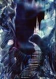 Castelos de cristal gêmeos na floresta místico ilustração do vetor