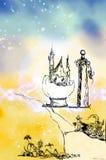 Castelos desenhados do fairy-tale ilustração royalty free