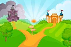 Castelos maus e bons do conto de fadas ilustração royalty free