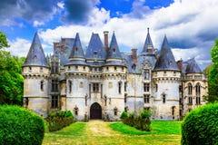 Castelos misteriosos do conto de fadas Castelo de vigny, França fotografia de stock