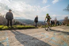 Castelraimondo, Italia - 15 de marzo de 2015: Davide Formolo durante una subida Imagen de archivo libre de regalías