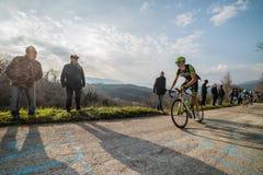 Castelraimondo, Italy - March 15, 2015: Davide Formolo during a Climb Royalty Free Stock Images