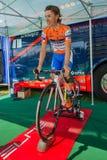 Castelrotto,意大利2016年5月22日;达米亚诺・库内戈,专业骑自行车者,在困难时期试验攀登前的路辗的 免版税库存照片