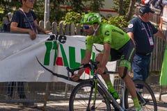 Castelrotto, Italia 22 maggio 2016; Moreno Moser, ciclista professionista, durante la salita di prova di difficoltà Fotografia Stock Libera da Diritti