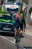 Castelrotto, Italie le 22 mai 2016 ; Cycliste professionnel de Giovanni Visconti, pendant une montée d'essai de difficulté photos libres de droits