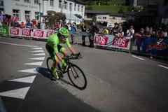 Castelrotto, Italie le 22 mai 2016 ; Rigoberto Uran, cycliste professionnel, pendant une montée d'essai de difficulté photo libre de droits