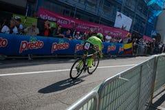 Castelrotto, Italie le 22 mai 2016 ; Rigoberto Uran, cycliste professionnel, pendant une montée d'essai de difficulté images stock