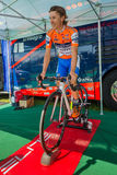 Castelrotto, Italy May 22, 2016; Damiano Cunego, professional cyclist,  on the roller before a hard time trial climb Royalty Free Stock Photo