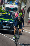Castelrotto, Italy May 22, 2016; Giovanni Visconti professional cyclist,  during a hard time trial climb Royalty Free Stock Photos