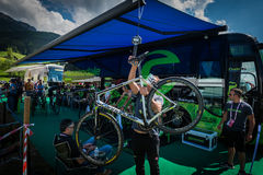Castelrotto, Italy May 22, 2016; Last check of the bike Cannondale Team before a hard time trial climb, Stock Photography