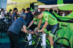 Castelrotto, Italy May 22, 2016; Professional cyclists Cannondale Team on the roller before a hard time trial climb Stock Image