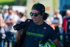 Castelrotto, Italy May 22, 2016; Rigoberto Uran, professional cyclist,  playing with his teammates and his camera before a hard ti. Me trial climb, with arrival Royalty Free Stock Image