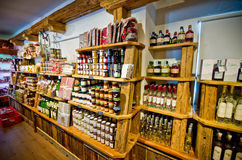 Castelrotto speck shop interior Stock Image