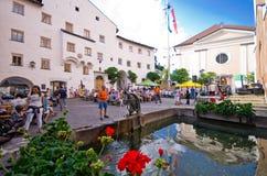 Castelrotto stary grodzki główny plac Obraz Stock