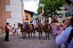 Castelrotto volksfestival Royalty-vrije Stock Foto's