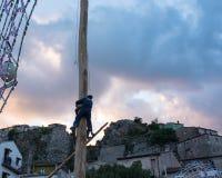 Castelsaraceno, Włochy, 18-06-2017: Losu Angeles Festa della ` Ndenna, Rito obrazy stock