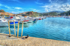 Castelsardo harbor in hdr. Tone mapping effect Royalty Free Stock Photo