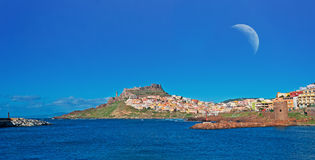 Castelsardo moon Royalty Free Stock Photos