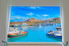 Castelsardo and window Royalty Free Stock Photo