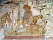 Castelseprio Lombardy, Italien, målningar i kyrkan Arkivbilder