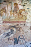 Castelseprio (Lombardy, Italy), paintings in the church. The archeological area of Castelseprio (Varese, Lombardy, Italy): ruins of a village destroyed in the stock photography