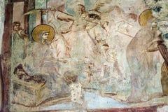 Castelseprio & x28; Lombardy Italy& x29; , målningar i kyrkan Arkivfoton
