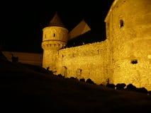 Castelul Corvinilor Hunedoara la nuit images stock