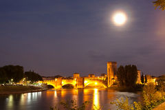 Castelvecchio Bridge and Adige River, Verona Stock Images