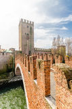Castelvecchio, bridge and fortress, Adige river, Verona,  Veneto Stock Photography