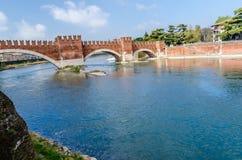 Castelvecchio, bridge and fortress in Verona, Adige river, Veneto, Italy Stock Image