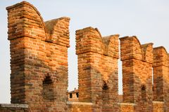 Castelvecchio bridge, Verona. Verona, northern Italy. Bridge fragment. Castelvecchio Royalty Free Stock Photos