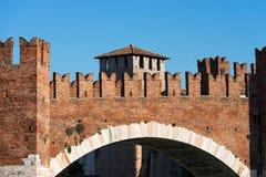 Castelvecchio Bridge - Verona Italy. Detail of the ancient Scaligero bridge near Castelvecchio (Old Castle) with Ghibelline battlements in Verona (UNESCO world Royalty Free Stock Images