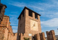 Castelvecchio Clocktower in Verona. View of the beautiful Clocktower of Castelvecchio Old Castle in Verona, now the msot important civic museum of the city royalty free stock images