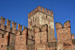 Castelvecchio keep and ghibelline battlements in the center of V. Medieval Castelvecchio with its typical ghibelline battlements and merlons, a famous Verona Royalty Free Stock Image