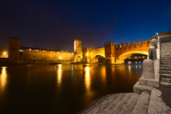 Castelvecchio by Night (1357) - Verona Italy Stock Images